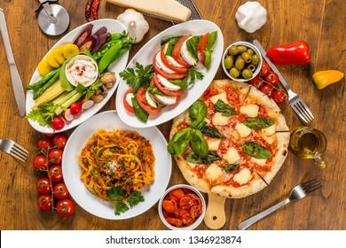Italian food and pizza