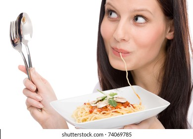 Italian food - portrait of healthy woman eat spaghetti with sauce