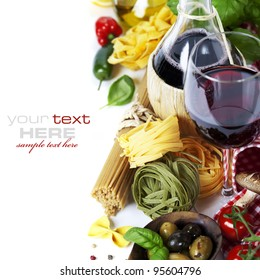 Italian food and wine. Ingredients for cooking (pasta, tomatoe, garlic, pepper, mushroom, bay leaves, olives, olive oil, basil)  over white (with easy removable sample text)