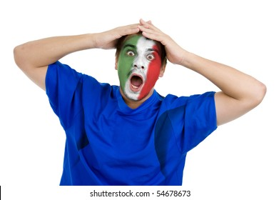 italian football fan cheering for his national team, isolated on white background