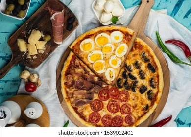 Italian Four Seasons Pizza (Pizza Quattro Stagioni) Top view