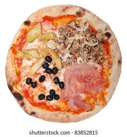 Italian Four Seasons Pizza (Pizza Quattro Stagioni) - isolated over a white background