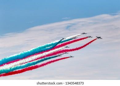 The Italian Frecce Tricolori (Tricolour Arrows), the aerobatic demonstration team of the Italian Aeronautica Militare in Taranto, Puglia, Italy - 29/06/2018