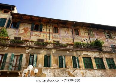 Italian fresco on building facade, Piazza delle Erbe. Verona, Italy