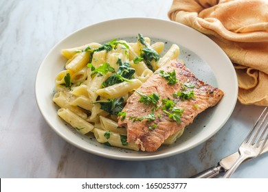 Italian fried salmon and penne rigate with creamy spinach alfredo pasta sauce