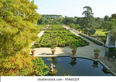 italian garden in villa pamphili park at rome in italy