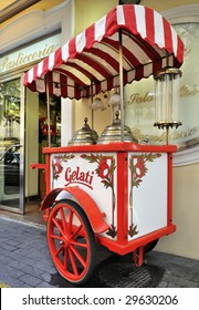 Italian gelati cart standing in the street outside a Pasticceria in Sorrento, Italy
