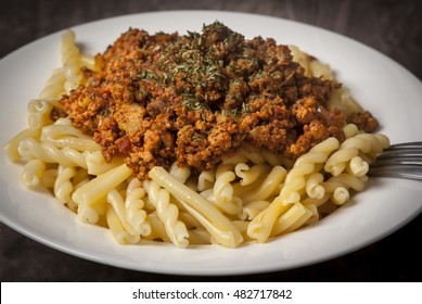 Italian Gemelli Pasta with turkey ground meat in tomato sauce