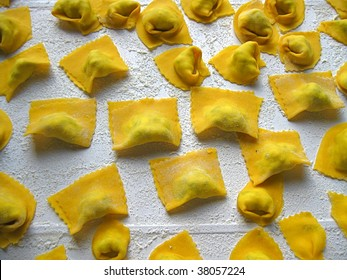 Italian hand made pasta called tortelli