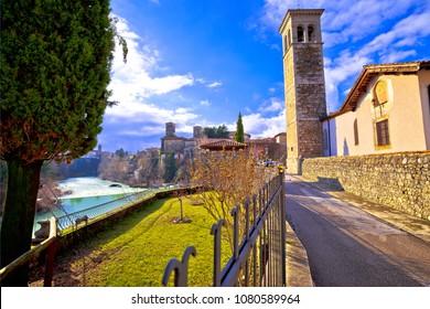 Italian heritage in Cividale del Friuli Natisone river canyon and ancient skyline view, Friuli-Venezia Giulia region of Italy