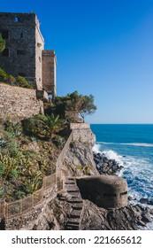 Italian holidays - beautiful Monterosso al Mare Beach, Cinque Terre, Italy. fishermen village in Cinque Terre, unesco world heritage in Italy. pictorial coast of Italy, Liguria.