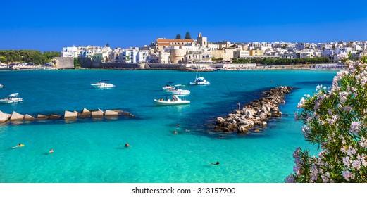 Italian holidays - beautiful Otranto with azure sea, in Puglia