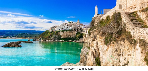 Italian holidays in Puglia - picturesque coastal town Vieste