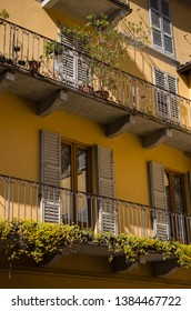 Italian home facade with balcony