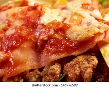 italian homemade Meat and Cheese lasagna .farm-style