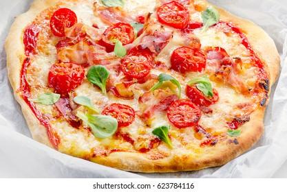 Italian homemade Pizza. Healthy food. Top view