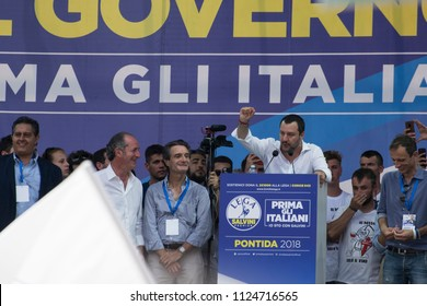 "The italian interior minister, Matteo Salvini, speaking on the stage at the annual celebration of the political party ""Lega"". Italy-Pontida 01 July 2018"