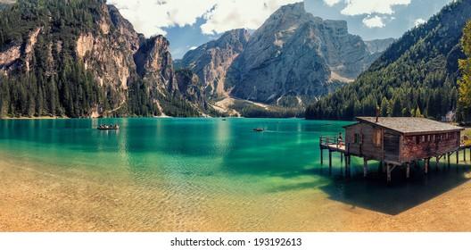 Italian lake landscape , Lago di Braies