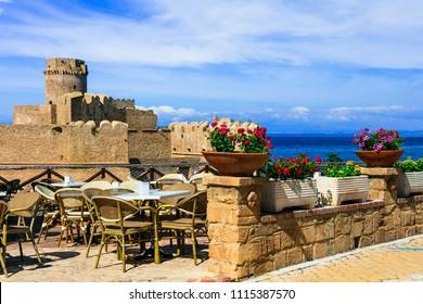 Italian landmarks - medieval aragonese castle. Le Castella .Isola di Capo rizzuto in Calabria