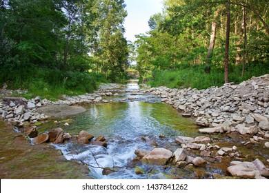 Italian landscape: Belbo river, in Piedmont, Cuneo near Bosia