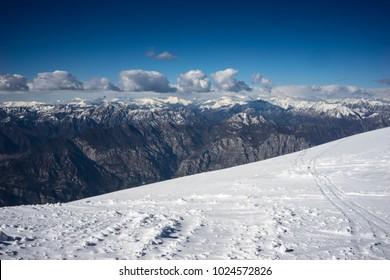 Italian landscape with snowy peaks