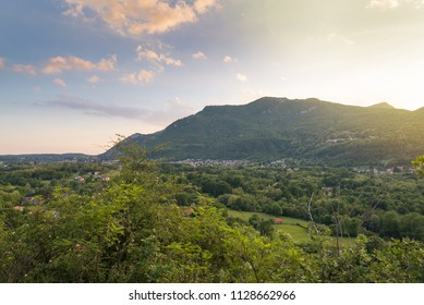 Italian landscape at sunset. Besano, province of Varese. In the background the Valceresio with on the left, the town of Arcisate, in the center, Bisuschio. Section between Varese and Porto Ceresio