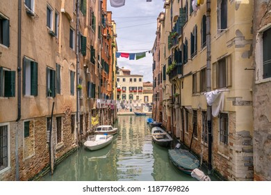 Italian landscape - Venice. Several clothing lines in Venice with canal and boats.