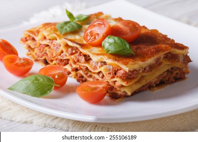 Italian Lasagna with fresh basil on a white plate. horizontal