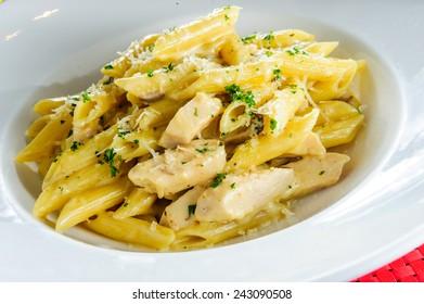 Italian macaroni and cheese with cheddar.