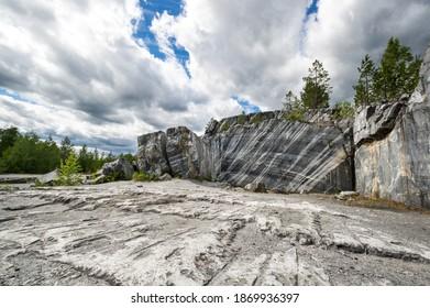 Italian marble quarry in Ruskeala mountain park, Karelia, Russia