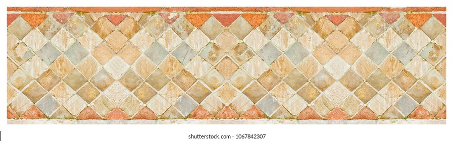 Italian medieval brick and stone wall in Latin called -opus incertum- with stones and bricks - seamless pattern
