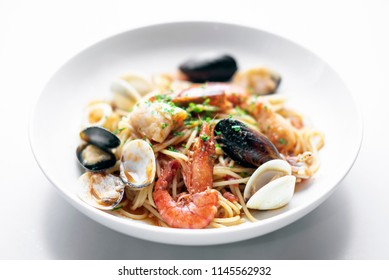 italian mixed fresh seafood spaghetti pasta with prawns mussels scallops and clams