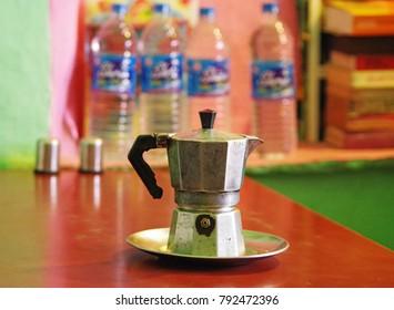 An Italian moka is placed in a pushkar cafe.