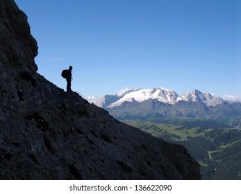 Italian mountains, Fanes, Kreuzkofel group, Dolomites, View to the Marmolada glacier