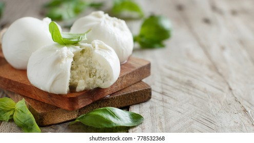 Italian mozzarella cheese stuffed with ricotta and pesto close up
