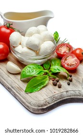 Italian mozzarella cheese and tomatoes. Caprese salad ingridients