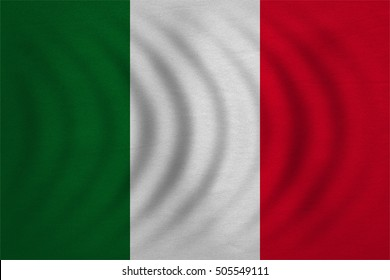 Italian national official flag. Patriotic symbol, banner, element, background. Correct colors. Flag of Italy wavy with real detailed fabric texture, accurate size, illustration