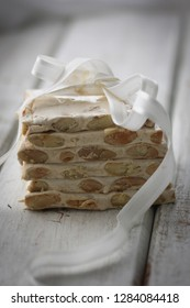 Italian nougat torrone with almond