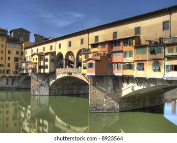 Italian for Old Bridge. This Bridge is the oldest in Florence. Its banks are full of goldsmiths, silversmiths and jewelers workshops whose art has been passed down from generation to generation.