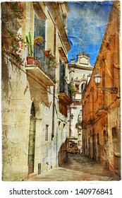 Italian old town streets- Lecce.picture in painting style