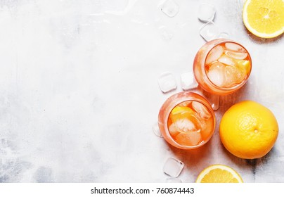 Italian Orange Cocktail With Aperitif, Ice, Sparkling Wine And Orange Slice, Top View