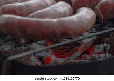 Italian organic sausage. Local spices, rainy day in Reggio Calabria.