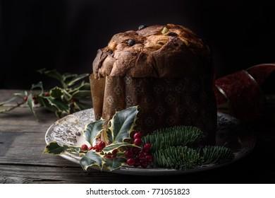 Italian panettone, traditional Christmas cake