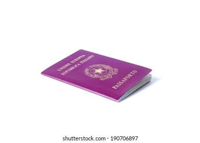 Italian passport isolated on white background