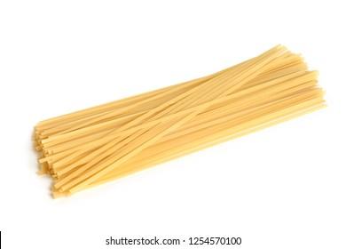 Italian pasta (Bavette) on white background
