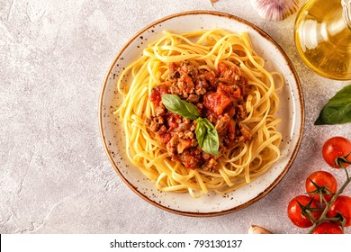 Italian pasta bolognese. Top view.