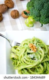 Italian pasta with broccoli and walnuts