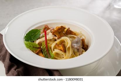 Italian pasta with chanterelles