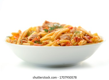 """Italian Pasta Dish – """"Casarecci"""" with Tuna and Tomatoes – Isolated on White Background"""