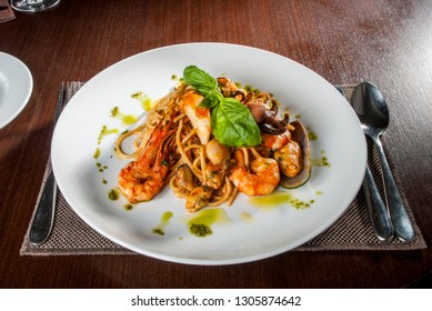 Italian pasta with king prawns